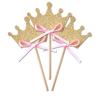 Wholesale Sweet Theme - Wholesale- Crown Gold Glitter Cupcake toppers Bridal Showers, Sweet 16, Wedding, Theme Birthdays decorations wedding toothpicks