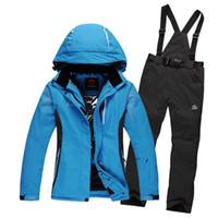 Wholesale Ski Snowboard Jackets Women - Wholesale- Free shipping Snow snowboard jacket men women unisex ski jacket pants suits winter outdoor waterproof windproof skiing set