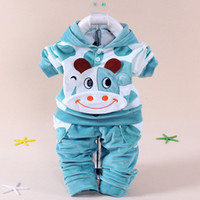 Wholesale Cow Boy Jackets - Baby Boys Girls Spring Autumn Lovely Cartoon Cows Velvet Clothing Set for Toddler Kids Hoody Tops Jacket Coat Pants 4colors 1set lot
