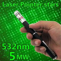 Wholesale Lasers Wholesale - 5in1 Star Cap Pattern Green Laser Pointers 532nm 5mw Star Head Laser pointer pen Kaleidoscope 5mw laser burning pen 300pcs UP