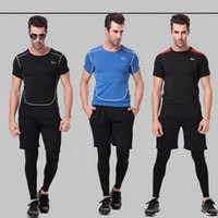 Wholesale Tights Shorts For Men - 3 Pieces sets Mens Sports Suits Running Clothes For Men Short Compression Tights Gym Fitness T Shirt Cropped Pants Quick Dry Sets