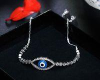 Wholesale Sterling Silver Evil Eye Charms - Gold Silver Adjustable Bracelets Turkish Evil eye Charm Tennis Pave CZ Cubic Zirconia Charm Bracelets 2017
