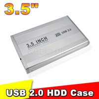 Wholesale Hard Drive Storage Boxes - Wholesale- 2015 New Arrive 3.5 Inch USB 2.0 SATA External HDD Hard Disk Drive Case Cover External Storage Enclosure Box Silver Color