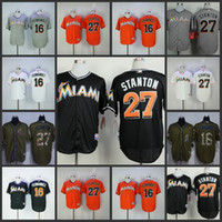 Wholesale Black Marlin - Miami Marlins 27 Giancarlo Stanton 16 Jose Fernandez white orange black green salute to service Baseball Jerseys Stitched jersey
