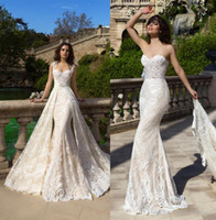 Wholesale Custom Designed Fitted Caps - datchable royal train mermaid lace wedding dresses 2017 crystal design bridal cape sleeves sweetheart neckline fit and flare wedding gowns