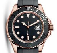 gummi armband uhr herren großhandel-Neue Heiße 18K Rose Gold Rubber Uhr Armband Mode 40mm Keramik Lünette Herrenuhr Automatische Self-Wind Top-Marke Luxus-Uhren Classic King