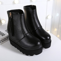 Wholesale Shoes Woman Winter Patchwork Leather Wedges Ankle Boots Zip Short Shoes Boots Round Toe tassel Platform Shoes Black