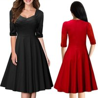 Wholesale ladies thin skirts - Women Lady Girls Summer Casual Fashion Black Red V-Neck Thin Mid-sleeves Dress Skirts Clothes Clothing 3078