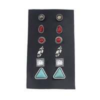 Wholesale Water Stone Color - 6 pairs set Antique Silver Color Blue And Red Stone Round Water Drop Leaf Shape Earrings Set For Women Fashion Jewelry