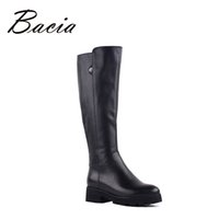 Wholesale Warm Long Shoes For Woman - Wholesale- Bacia Genuine Leather Boots Knee-Length Winter Boots For Women Warm Wool Fur Shoes Platform Long Boots Low Heels New 2016 VF002