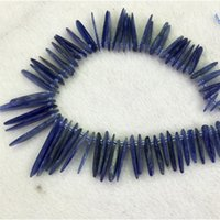 "Wholesale Natural Blue Kyanite - Natural Genuine Blue Kyanite Slabs Slices Stick Teeth Drill Side Comb Fit Jewelry Necklace Bracelets 15"" 04314"