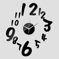 Wholesale digital art designs for sale - Group buy promotion mirror wall art acrylic quartz clocks fashion digital watch sticker safe home decor modern design