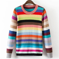 Wholesale Rainbow Stripe Sweater - Wholesale- New Arrivals Rainbow Stripes Women Sweaters Fashion Autumn Winter Long Sleeve Knitwear Casual Loose Patchwork Sweater 62973