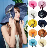 Wholesale fold straw hats - Wide Brim Floppy Fold Sun Hat Summer Hats for Women Out Door Sun Protection Straw Hat Women Beach Hat R025