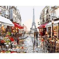 Wholesale Eiffel Tower Canvas Painting - Eiffel Tower Street View Oil Painting Wooden Unframed Paint by Number or Not Diy painting by Numbers - for Adults Girls Kids White Christmas