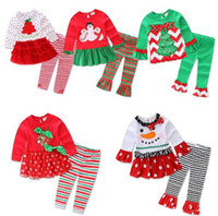 Wholesale Girl Set Long - Fashion long sleeve baby girls Xmas Outfits Children Christmas 2pcs sets clothes white sanda reindeer tree dress striped ruffle pants