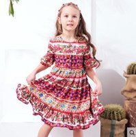 Wholesale Monsoon Girls - WL-MONSOON New Collecting Children Girls Flower Half Flare Sleeve Red Dresses High Quality Girl Clothing 6PCS Lot Girls Summer Flower Dress