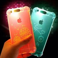 50PCS Incoming Call Flash Light Up Soft Shockproof Cell Phone Protetor Cover Case para iPhone 5 5S 7 7 6 6s Plus SJK-034