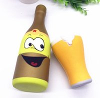 Wholesale Beer Bottle Charms - 22CM 10CM Kawaii Jumbo Squishy Slow Rising Cartoon Beer Bottle Beer Cup Squeeze Sweet Scented Charm Kid Toy Gift Phone Strap