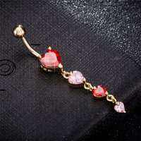 Wholesale sexy ring girl resale online - Women Brand Body Jewelry Belly Button Ring K Yellow Gold Plated CZ Hearts Navel Piercing Ring for Sexy Girls BR