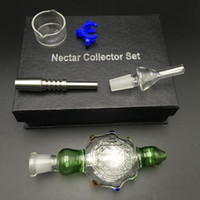 Wholesale Water Cooler Box - Spillproof Nectar Collector Titanium Tips Water-cooled Perc Pendant and Oil Rig Glass Bongs honey concentrate vaporizer gift box