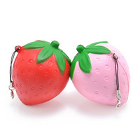 Wholesale Imitation Mobile Phones - new style Strawberry Squishy Slow Rising Pink Red Straps Sweet Cream Charms Pendant Bread Kids Toy Gift Lanyard Mobile Phone Strap
