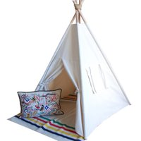Wholesale Canvas Pole Tent - Wholesale- pure white hot selling Kids Teepee Tent Canvas Teepee and 4 Wooden Poles kids play house