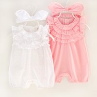 Wholesale Newborn Onesies For Girls - Newborn Clothing Rompers For Babies Girls Lace Romper With Headband baby Jumpsuit Baby One Piece Clothing Infant Clothes Baby Onesies A733
