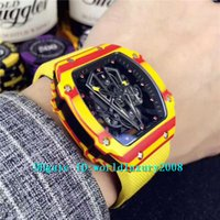 relojes esqueleto tourbillon al por mayor-Tornillos de lujo Spline Yellow Carbon NTPT Tourbillon Reloj automático para hombre Bull Skeleton Dial Canvas Correa de cuero Deportes hombre relojes