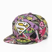 Wholesale Free Graffiti Letters - Fashion quality new flower cloth hip hop hat free goddess graffiti street hood embroidery superman flat along the hat