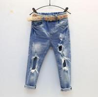 Wholesale Hole Jeans Kids - 2017 Spring Baby Girls Jeans Kids Hole Design Denim Pants Children Jeans Trousers Pants Blue
