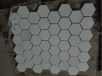Wholesale Bathroom Marble Walls - Pure White Fashion Hexagon Natural Marble Mosaic Polished Tile for Interior Exterior Wall, Flooring, Kitchen, Bathroom Home Decor 5pcs lot