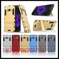 huawei g6 hüllen großhandel-Hybrid Armor Iron Man Stoßfestes Etui für Samsung Galaxy S8 und A7 J7 LG G6 Moto E3 Huawei Ständer