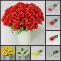 Wholesale Wholesale Bouquet Flowers Rose Simulation - NEW 100Pcs 30cm Length Artificial Simulation Silk Single Rose Half Open Roses for DIY Bride Bouquet Wedding Flower