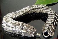 tibet silber drachen armband großhandel-Tribal Tibet Silber geschnitzt Dragon Handmade Armband Herren Schmuck Armbänder
