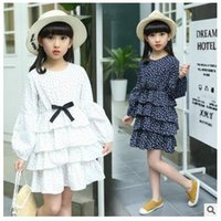 Wholesale Girls Clothing Cupcake - Girls cupcake dresses fashion kids floral printed Bows round collar dress children long sleeve multilayer lace dress 2017 kids clothes G0591