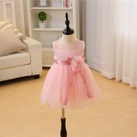 Wholesale Big White Tutu - new baby girl dress pink necklace ball gown girls birthday party dress big bow white layered yarn tutu vestido infantil 3-24M