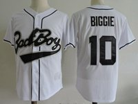 Maillot de baseball Biggie Smalls Bad Boy Baseball Jersey 10 # Film cousu cousu blanc rétro