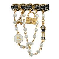 venta de broches de china al por mayor-Artículos de venta Envío gratis Elegante Señora Cadenas de perlas Broches Prendedores Moda Bufanda Hebilla Collar Joyería Joyería Decoraciones Top