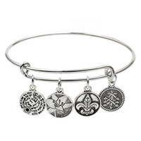 Wholesale Wholesale Wire Style Bracelets - fashion jewelry original parts vintage retro style wire adjustable expanded engraved woman clover Charm bangle bracelet