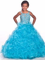 Великолепное платье Gageant Flower Gageant Sexy Beading Organza Ruffled Light Blue Ball-Gown Scoop Ruched Little Girl Flower Girls 'Dresses 2017