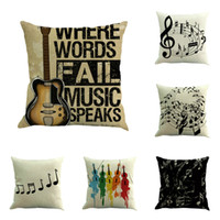 Wholesale Music Linen - Pillow Case Vintage Twin Sides Top Quality Cushion Cover Classical Music Notes Guitar Pattern Linen Office Pillowcase 6 5nw F R
