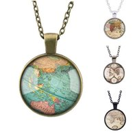Pendant Necklaces ordered map - Good A Hot Fashion Retro Jewelry Ancient Map Time Gemstone Necklace WFN121 with chain mix order pieces a