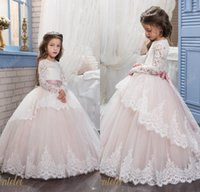 Wholesale Shirt Long Dress Girl - 2017 Lace Flower Girl Dresses for Weddings Blush Pink Long Sleeves Ball Gown Princess First Communion Dress Girls Pageant Party Gowns