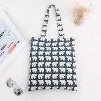 Atacado- YILE Cotton Canvas Shopping Tote Shoulder Carrying Bag Eco saco reutilizável Print White Bear L068 NOVO