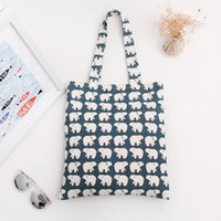Wholesale Shopping Carrying Bag - Wholesale- YILE Cotton Canvas Shopping Tote Shoulder Carrying Bag Eco Reusable Bag Print White Bear L068 NEW