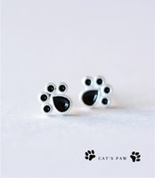 Barato Brincos Grossistas Para Bebê-Moda Dog Cat Paw Stud Earrings Novo Silver Plated Cute Animal Baby 925 Lovely Jewelry FootPrint Brincos Wholesale Accessories