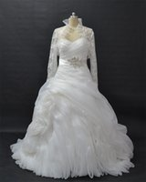 Wholesale Wedding Ball Gown Bolero - Ball Gown Pleated Wedding Gowns Strapless Pick Up Chapel Train Bridal Gowns vestidos de novia With Long Sleeve Bolero