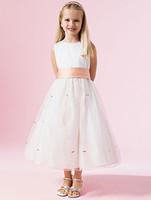 ingrosso maglietta bella ragazza-O Neck Ball Gown Tulle Flower Girl Abiti Appliques 2017 Custom Made Bella vestido de noche Pageant Abiti Design semplice Party Dress