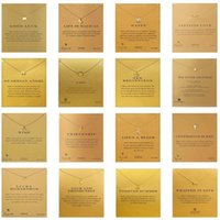 Wholesale Christmas Day Cards - 35 Styles Dogeared choker Necklaces With card Gold Circle Elephant Pearl Love Wings Cross Unicorn Pendant Necklace For Fashion women Jewelry